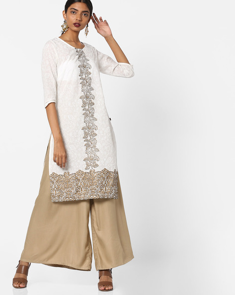 All-Over Print Straight Kurta By Juniper ( Black )