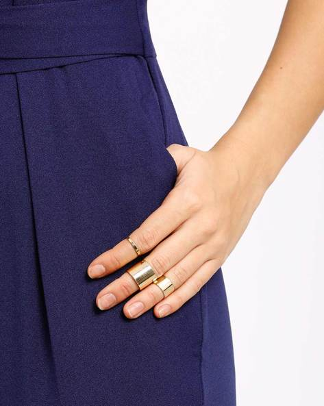 Set Of 4 Rings By AJIO ( Gold )