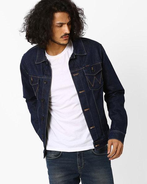 Regular Fit Denim Jacket With Pockets By WRANGLER ( Blue )