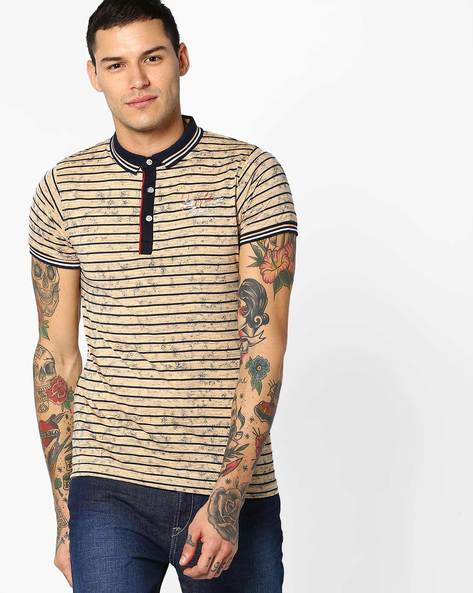 Textured Polo T-shirt With Stripes By Fort Collins ( Orange )