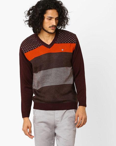 Colourblock V-neck Sweater By DUKE ( Dkbrown )
