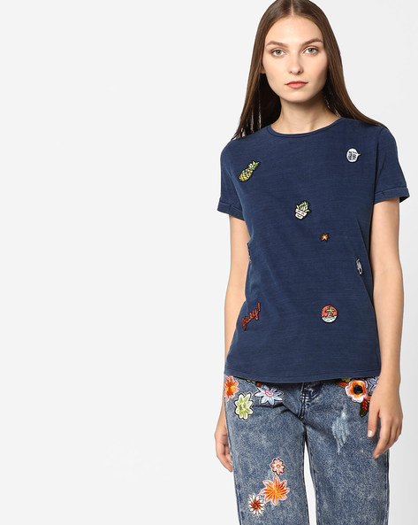 Cotton T-shirt With Applique By Lee ( Navyblue )