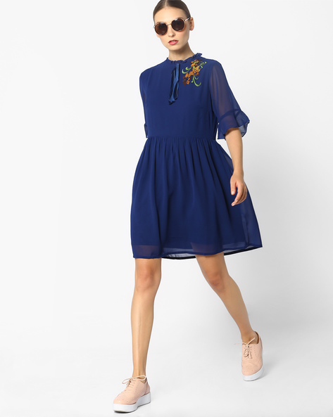 Fit & Flare Dress With Bell Sleeves By AJIO ( Navyblue )