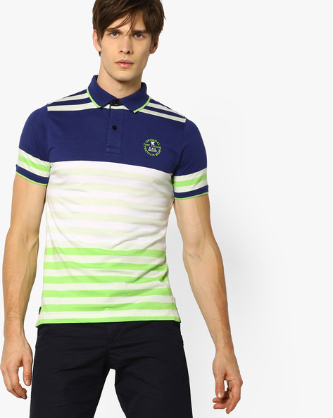 Cotton Polo T-shirt With Stripe-Tipped Hems By Fort Collins ( Navy )