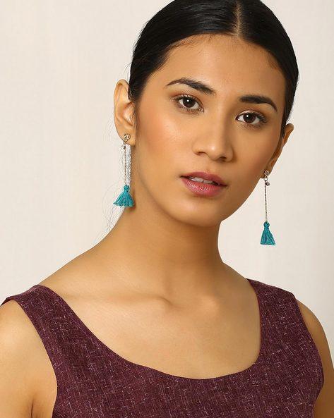 Tasselled Drop-Earrings By Indie Picks ( Green )