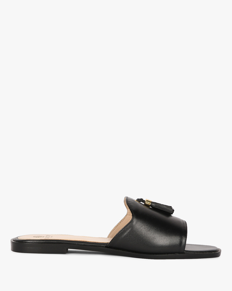 Genuine Leather Mule Shoes With Tassels By Carlton London ( Black )