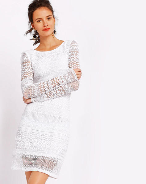 Lace Sheath Dress By RI-DRESS ( White )