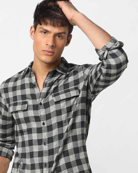 Checked Slim Fit Shirt With Flap Pockets By AJIO ( Black )