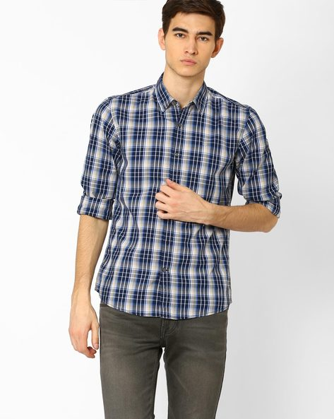 Classic Yarn Dyed Checked Shirt By WRANGLER ( Blue )