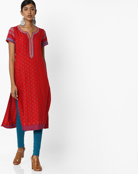 Printed Straight Kurta With Embroidery By Biba ( Red )