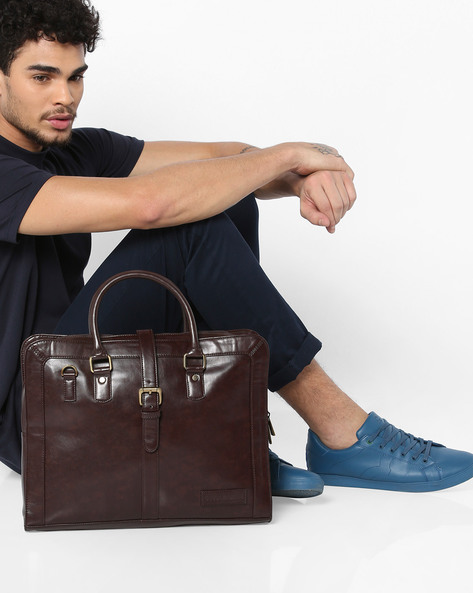 Panelled Laptop Messenger Bag By GAUGE MACHINE ( Coffeebrown )