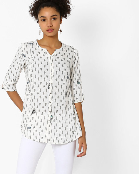 Printed Top With Curved Hem By W ( White )