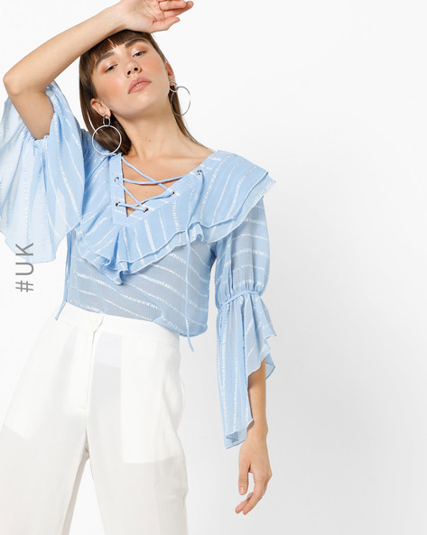 Striped Ruffled Top With Tie-Up By OEUVRE ( Blue )
