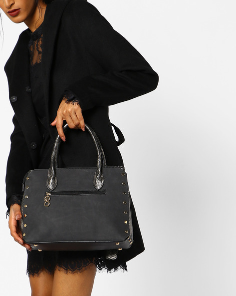 Textured Satchel Bag With Detachable Sling By E2O ( Black )