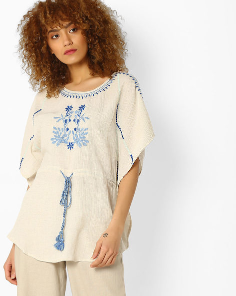 Embroidered Top With Drawstring By Global Desi ( Natural )