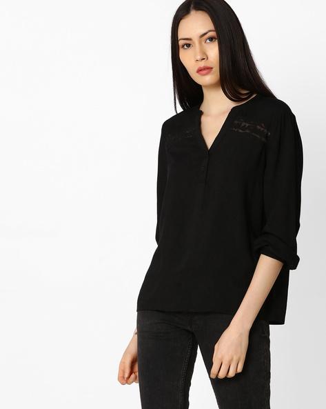 Top With Mandarin Collar By Vero Moda ( Black )