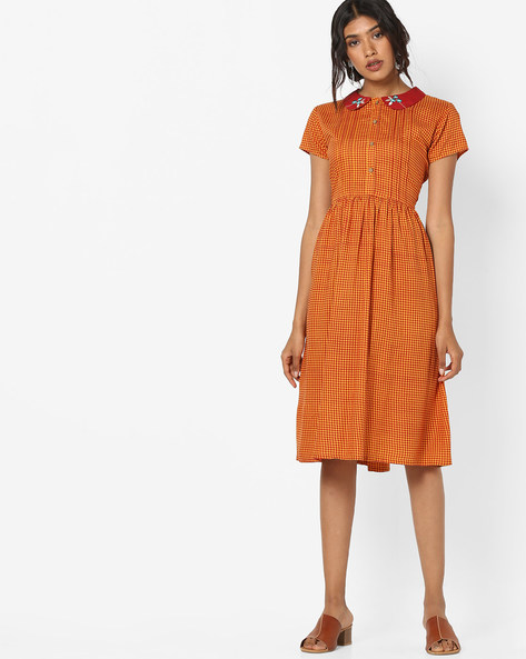 Checked Dress With Embroidered Peter Pan Collar By AJIO ( Mustard )