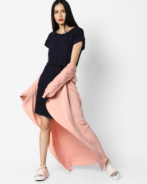 A-line Cotton Dress With Pockets By And ( Blue )