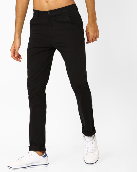 Slim Fit Flat-Front Trousers By Nature Casuals ( Black )