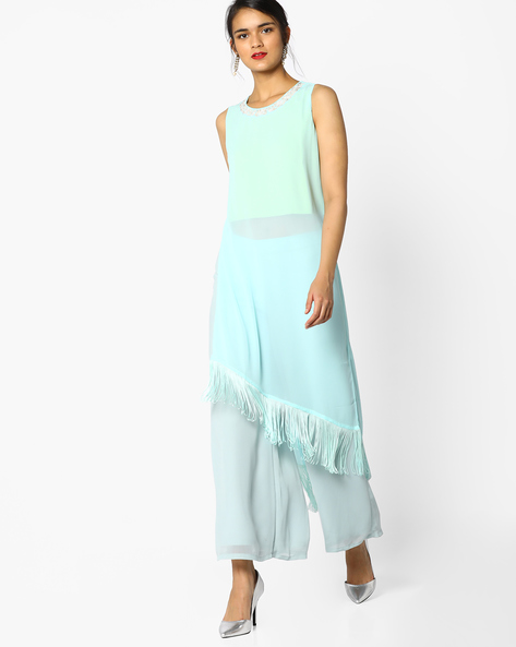 High-Low Tunic With Tassels By AJIO ( Blue )