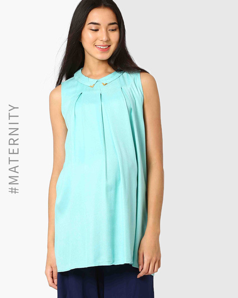 Pleated Maternity Tunic With Pointed Flat Collar By AJIO ( Aqua )