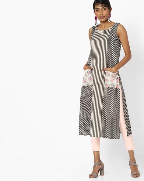 Checked Sleeveless Kurta With Contrast Pockets By AVAASA MIX N' MATCH ( Medgrey )