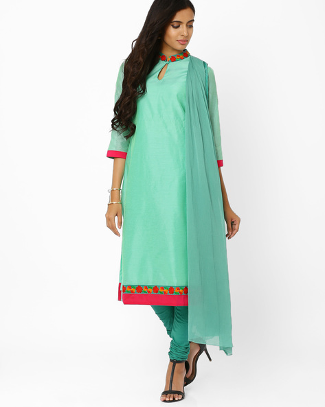 Kurta Suit Set With Embroidery By AJIO ( Aqua )
