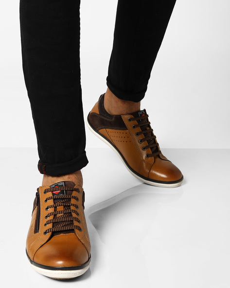 Genuine Leather Lace-Up Sneakers By Lee Cooper ( Tan )