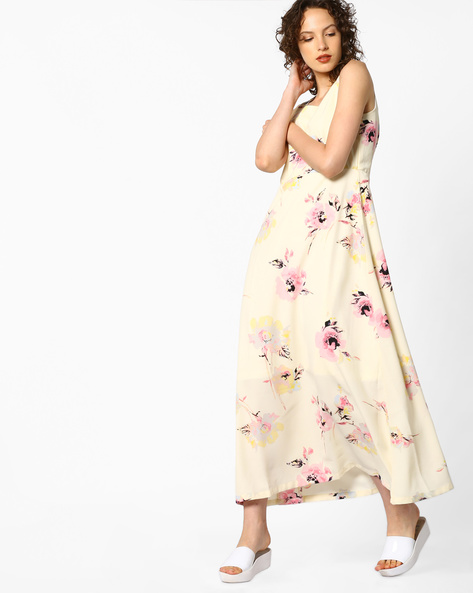 Floral Print Maxi Dress By PE WW Casual ( Offwhite ) - 440760363003