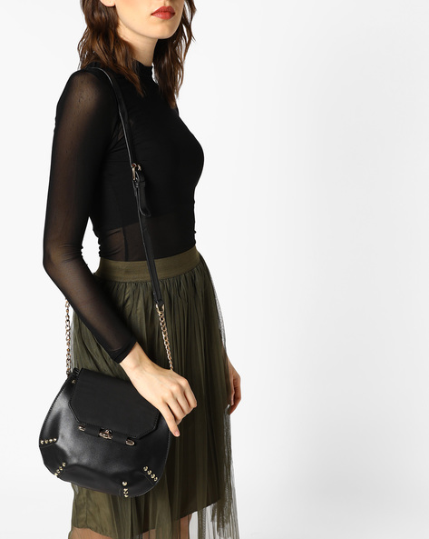 Sling Bag With Stud Embellishments By E2O ( Black )