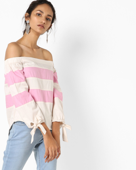 Striped Off-Shoulder Top By Vero Moda ( Macaugreen )