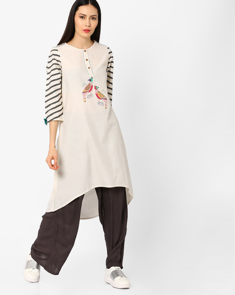 Tunic With High-Low Hem By Global Desi ( Natural )