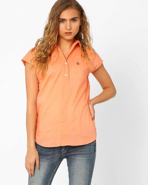 Shirt With High-Low Hem By CHM ( Ltpeach )