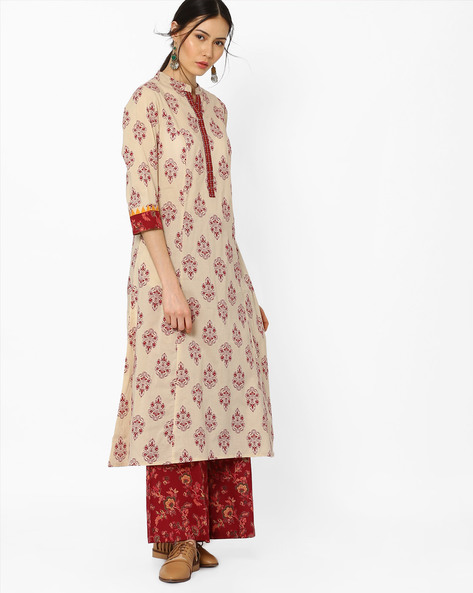 Printed A-Line Kurta With Embroidered Detail By AJIO ( Beige )