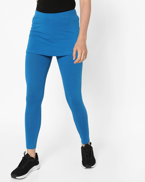 Cotton-Stretch Ankle Skeggings By AJIO ( Blue )