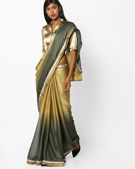 Ombre-Dyed Saree With Zari Border By Florence ( Lightgreen )