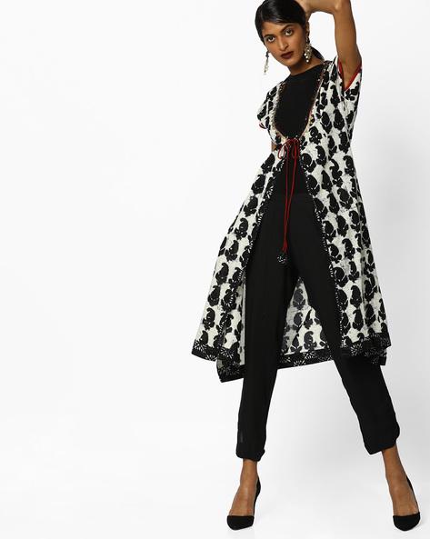 Paisley Print Jacket With Tie-Up By AJIO ( Black )