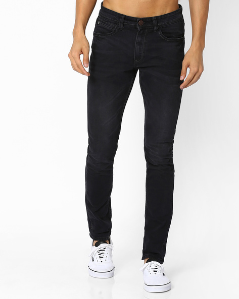 Lightly Washed Slim Fit Jeans By Locomotive ( Gray )