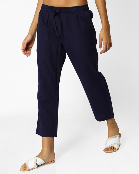 Cropped Pants With Drawstring Fastening By PE IW Casual ( Navy )