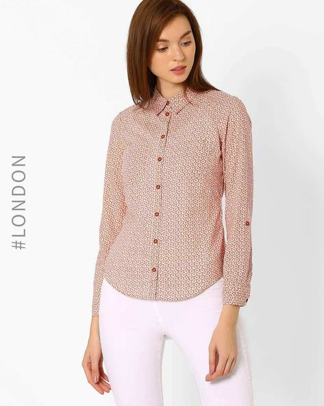 Rose Print Cotton Shirt By Marks & Spencer ( Rust )