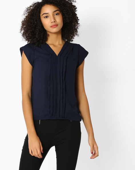 Pleated Blouson Top By FIG ( Navy )