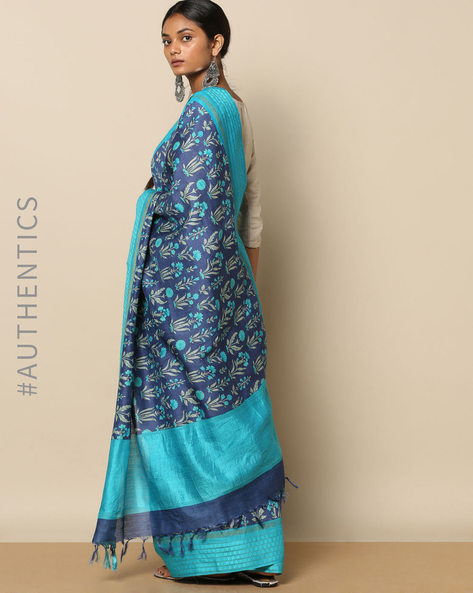 Pure Tussar Silk Floral Print Saree By Rudrakaashe-MSU ( Navyblue )