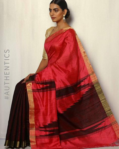 Rising Temple Pure Silk Dupion Handloom Saree By Pretty Woman ( Peach )