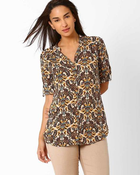 Printed Shirt With Curved Hem By Recap ( Brown )
