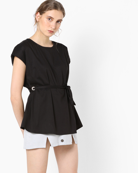 Top With Waist Tie-Up By Vero Moda ( Black )