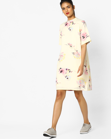 Floral Print Shift Dress By PE WW Casual ( Yellow )