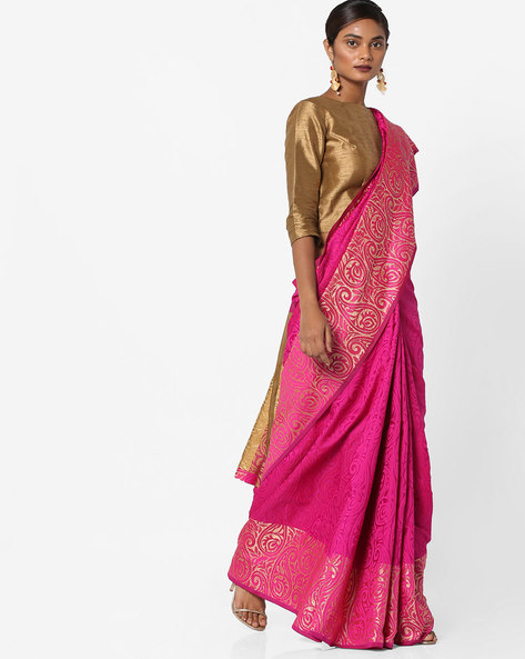 Printed Saree With Blouse By Era ( Pink )