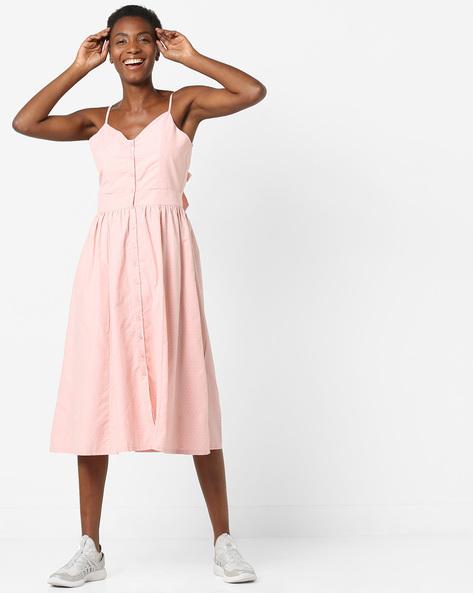 Strappy Polka-Dot Midi Dress With Tie-Up Back By AJIO ( Peach )