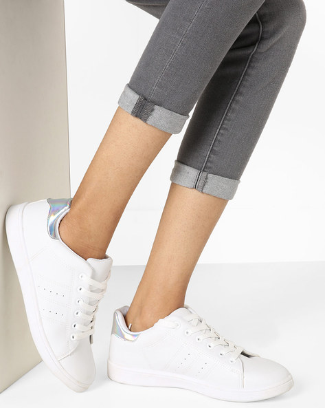 Panelled Sneakers With Contrast Heel Collar By Truffle Collection ( White )