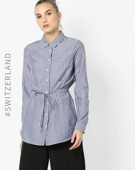 Striped Shirt With Waist Tie-Up By TALLY WEiJL ( Blue )
